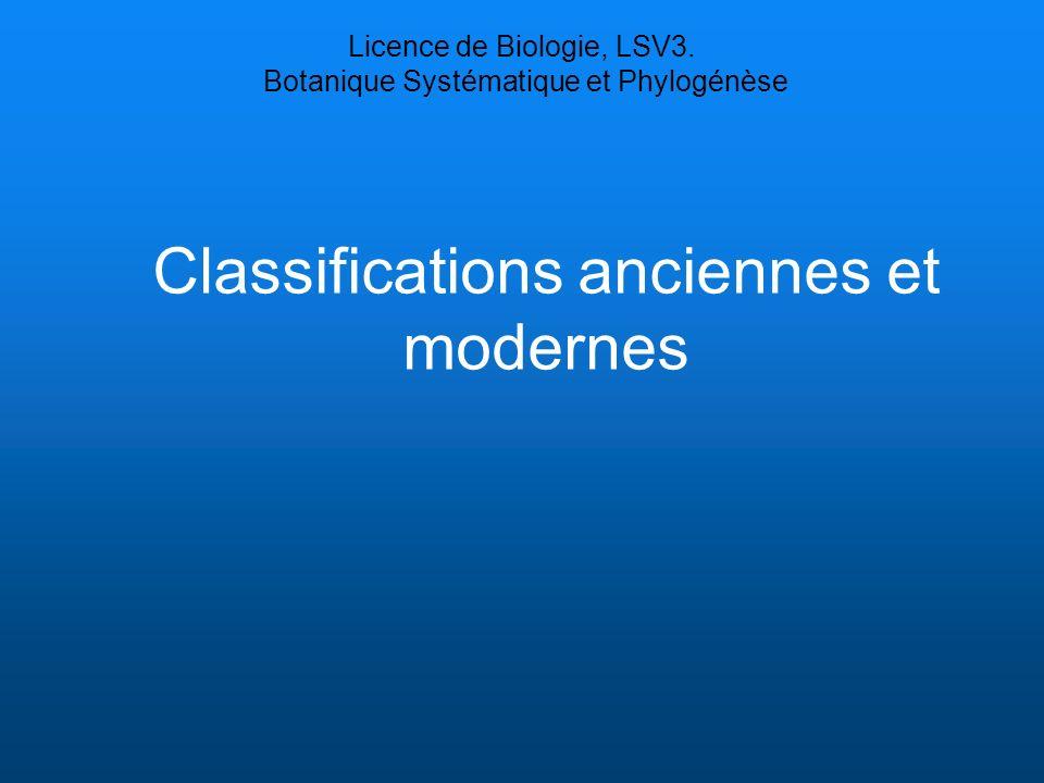 Classifications anciennes et modernes Licence de Biologie, LSV3. Botanique Systématique et Phylogénèse