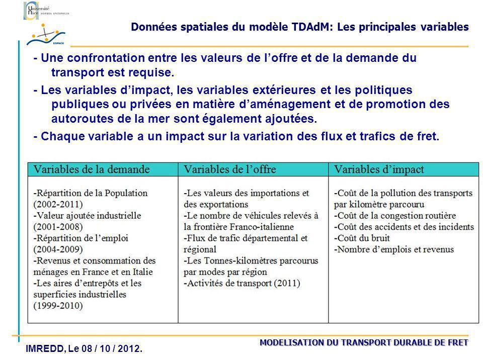 MODELISATION DU TRANSPORT DURABLE DE FRET IMREDD, Le 08 / 10 / 2012. Données spatiales du modèle TDAdM: Les principales variables - Une confrontation