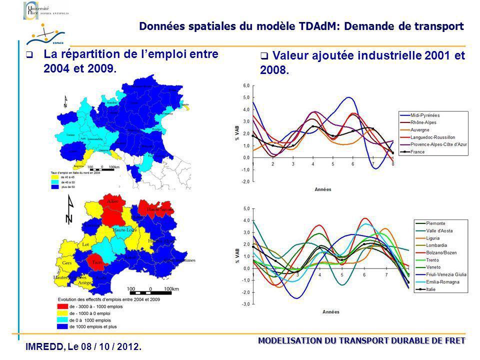MODELISATION DU TRANSPORT DURABLE DE FRET IMREDD, Le 08 / 10 / 2012. Données spatiales du modèle TDAdM: Demande de transport q La répartition de lempl