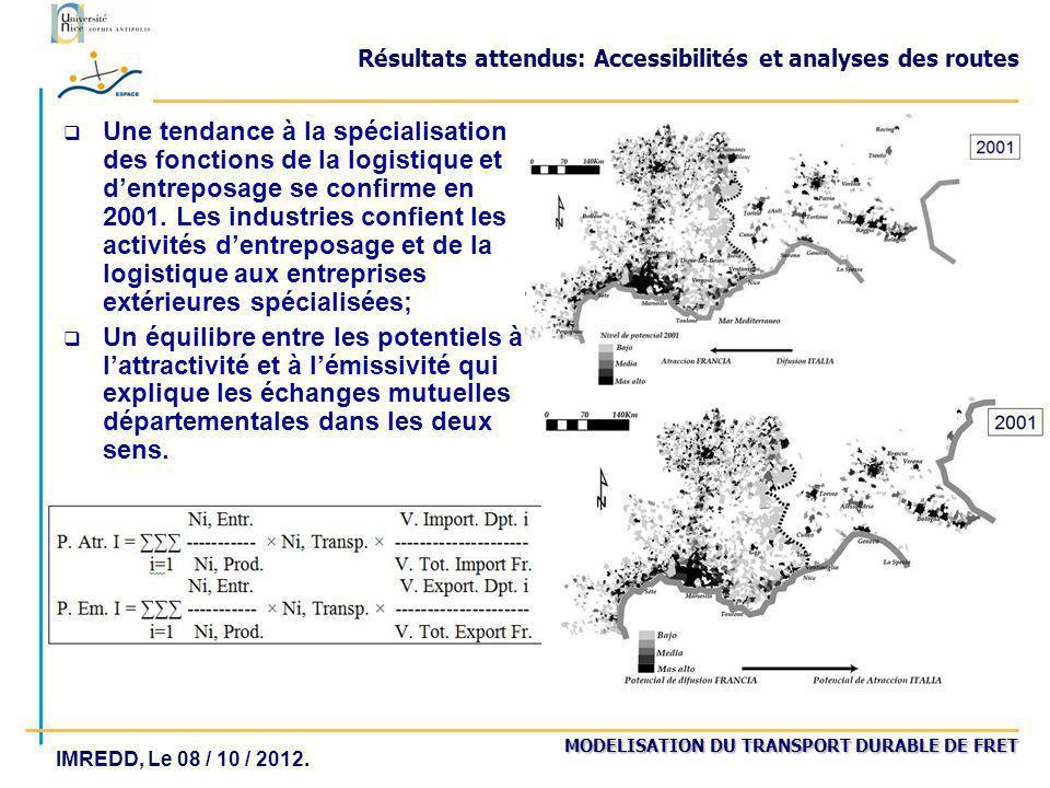 MODELISATION DU TRANSPORT DURABLE DE FRET IMREDD, Le 08 / 10 / 2012. Résultats attendus: Accessibilités et analyses des routes Une tendance à la spéci