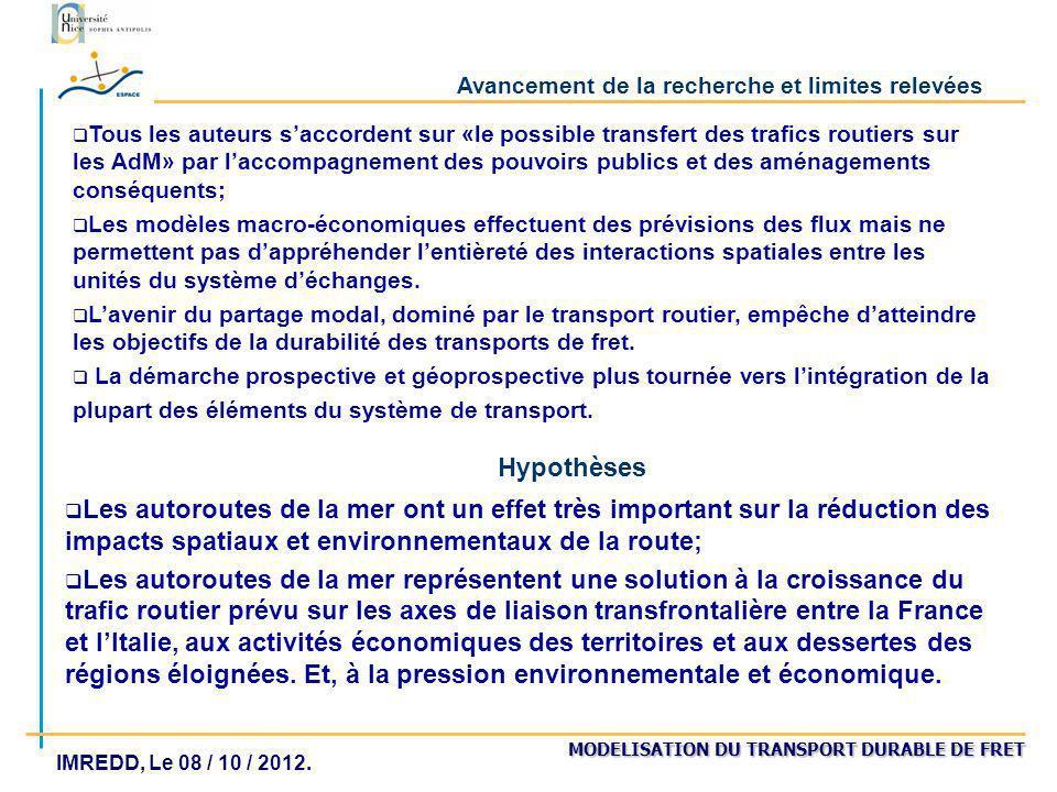 MODELISATION DU TRANSPORT DURABLE DE FRET IMREDD, Le 08 / 10 / 2012. Avancement de la recherche et limites relevées Tous les auteurs saccordent sur «l
