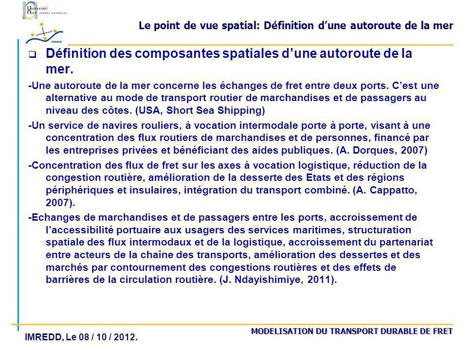 MODELISATION DU TRANSPORT DURABLE DE FRET IMREDD, Le 08 / 10 / 2012. Le point de vue spatial: Définition dune autoroute de la mer q Définition des com