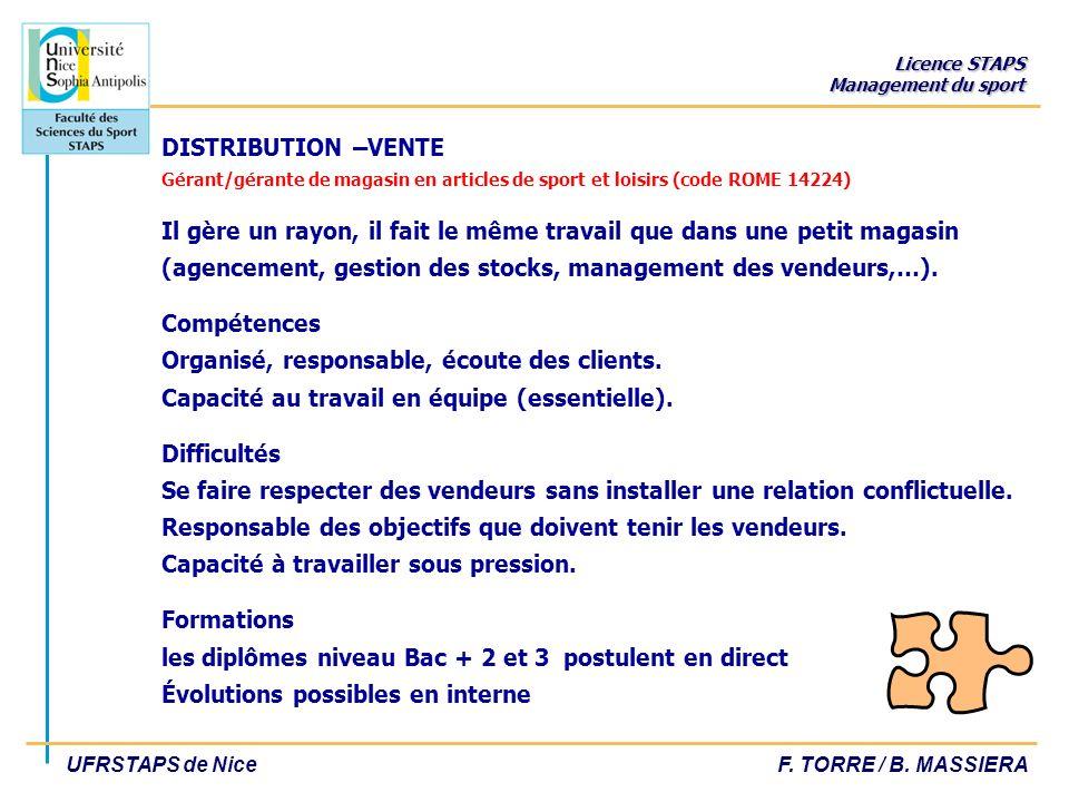 Licence STAPS Management du sport UFRSTAPS de NiceF. TORRE / B. MASSIERA DISTRIBUTION –VENTE Gérant/gérante de magasin en articles de sport et loisirs