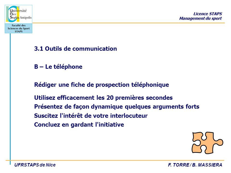 Licence STAPS Management du sport UFRSTAPS de NiceF. TORRE / B. MASSIERA 3.1 Outils de communication B – Le téléphone Rédiger une fiche de prospection