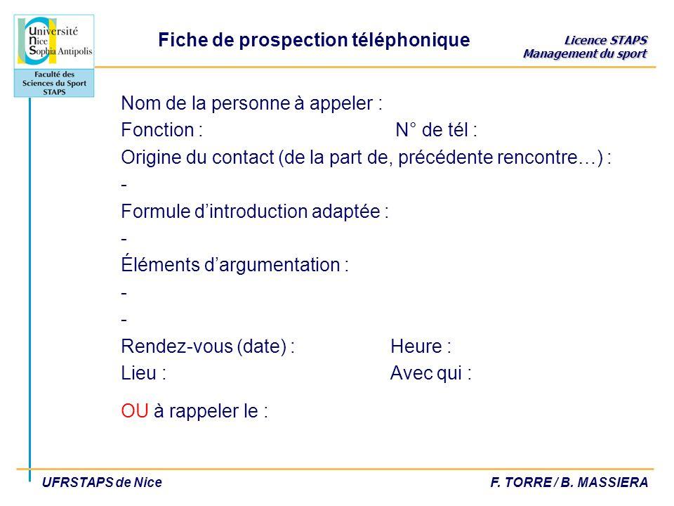 Licence STAPS Management du sport UFRSTAPS de NiceF. TORRE / B. MASSIERA Nom de la personne à appeler : Fonction : N° de tél : Origine du contact (de