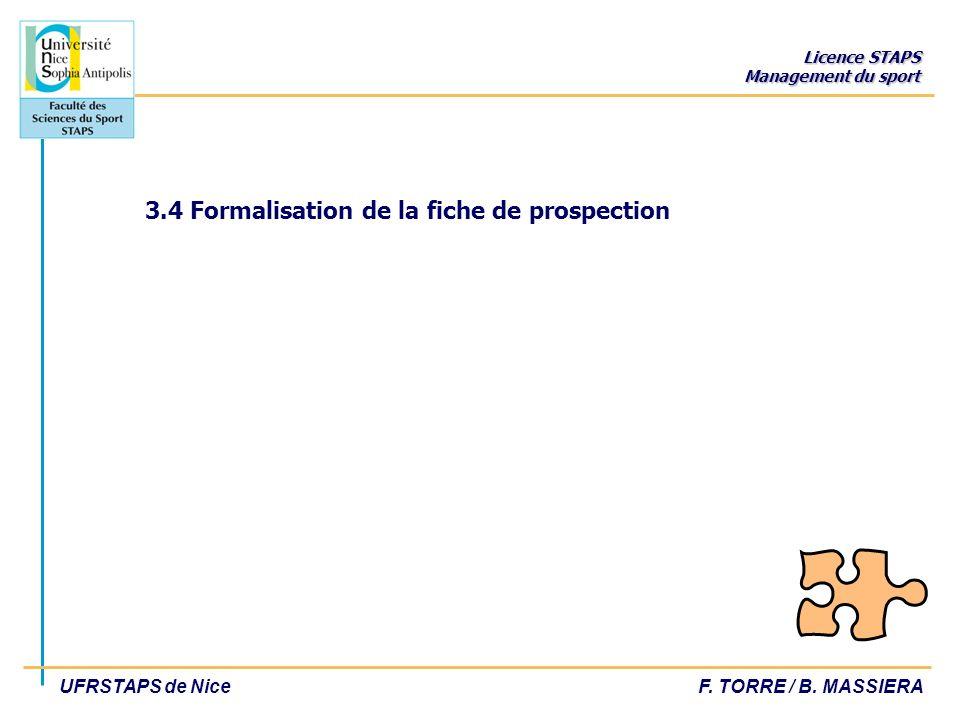 Licence STAPS Management du sport UFRSTAPS de NiceF. TORRE / B. MASSIERA 3.4 Formalisation de la fiche de prospection
