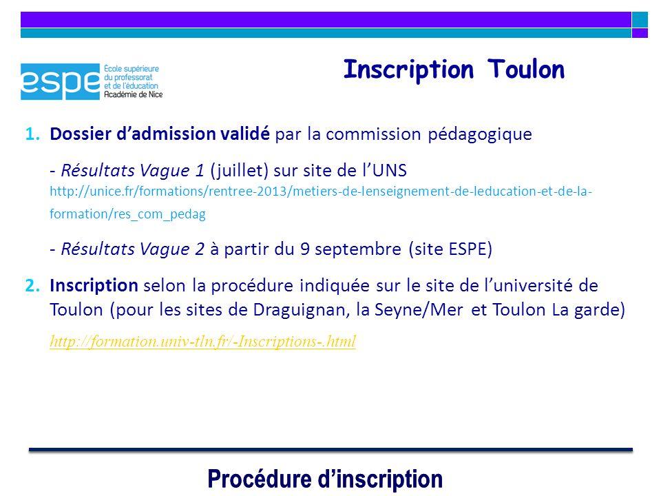 Procédure dinscription Inscription Toulon 1.Dossier dadmission validé par la commission pédagogique - Résultats Vague 1 (juillet) sur site de lUNS htt