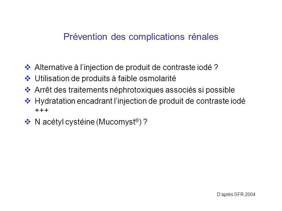 Prévention des complications rénales Alternative à linjection de produit de contraste iodé ? Utilisation de produits à faible osmolarité Arrêt des tra