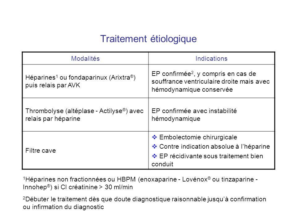 Traitement étiologique ModalitésIndications Héparines 1 ou fondaparinux (Arixtra ® ) puis relais par AVK EP confirmée 2, y compris en cas de souffranc