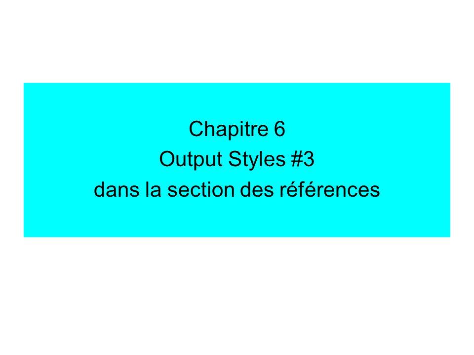 Chapitre 6 Output Styles #3 dans la section des références