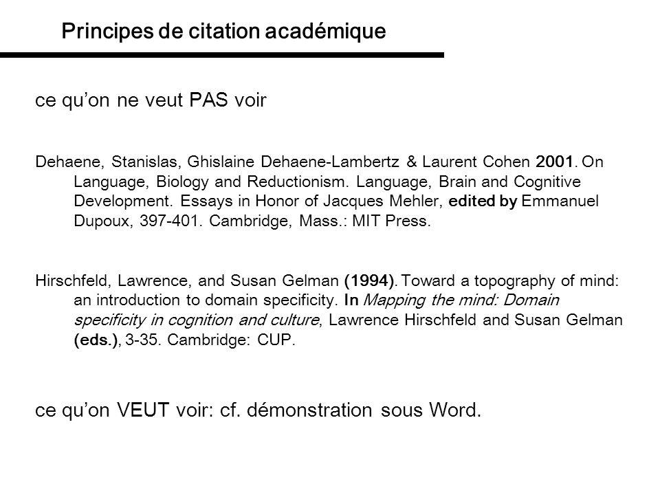 Principes de citation académique ce quon ne veut PAS voir Dehaene, Stanislas, Ghislaine Dehaene-Lambertz & Laurent Cohen 2001. On Language, Biology an