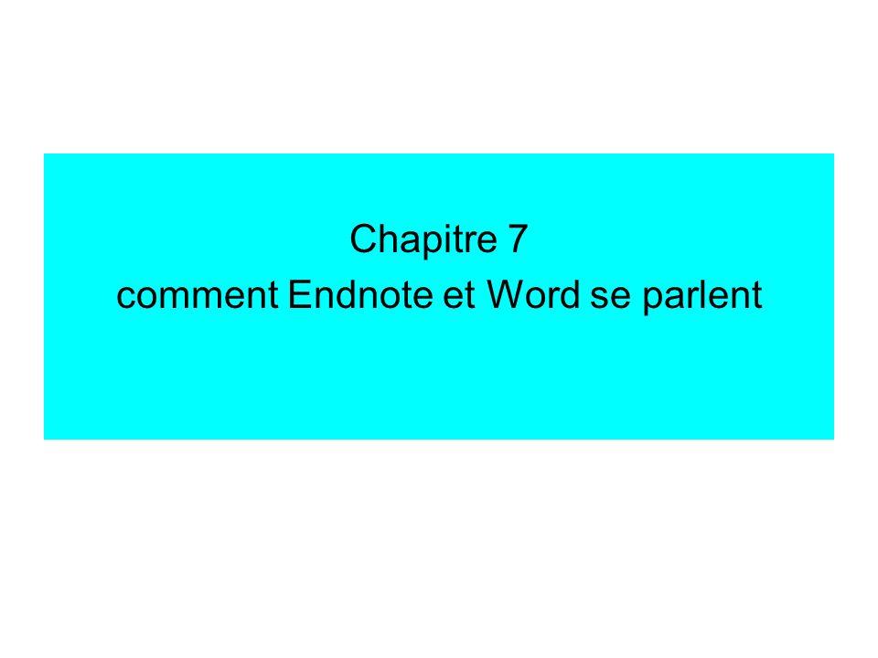 insérer une référence Endnote dans Word pour insérer une référence Endnote dans un texte Word, appuyer sur le bouton « Insert Selected Citation(s) » Endnote insère alors à lendroit du curseur la ou les notice(s) que vous avez choisie(s) préalablement dans Endnote (en la ou les mettant en surbrillance) si Cite-while-you-write est activé, le document est formaté instantanément, et le formatage a lieu automatiquement toutes les X minutes (X est réglable).