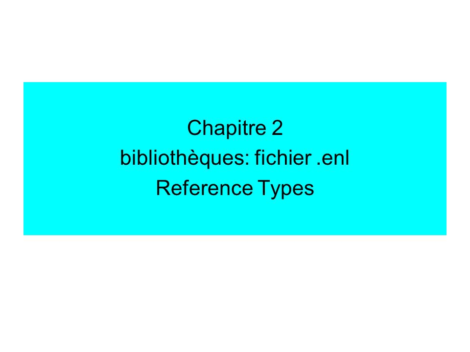 Libraries & Reference Types File / New ==> crée 1 dossier.Data et 1 fichier.enl Edit / Preferences Libraries: Open the specified Libr., Add Open Libraries Reference types: 5 ==> importer fichier « Endnote Reference Type Table – formation Endnote Tobias.xml » Journal Article Book Book Section Conference Presentation Manuscript of Thesis