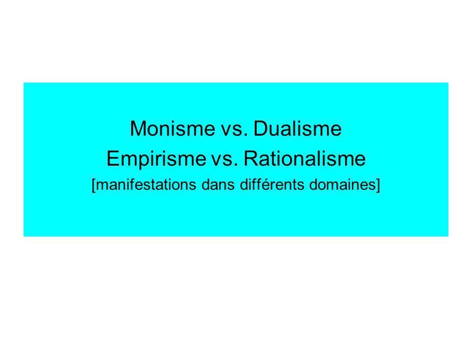 Monisme vs. Dualisme Empirisme vs. Rationalisme [manifestations dans différents domaines]