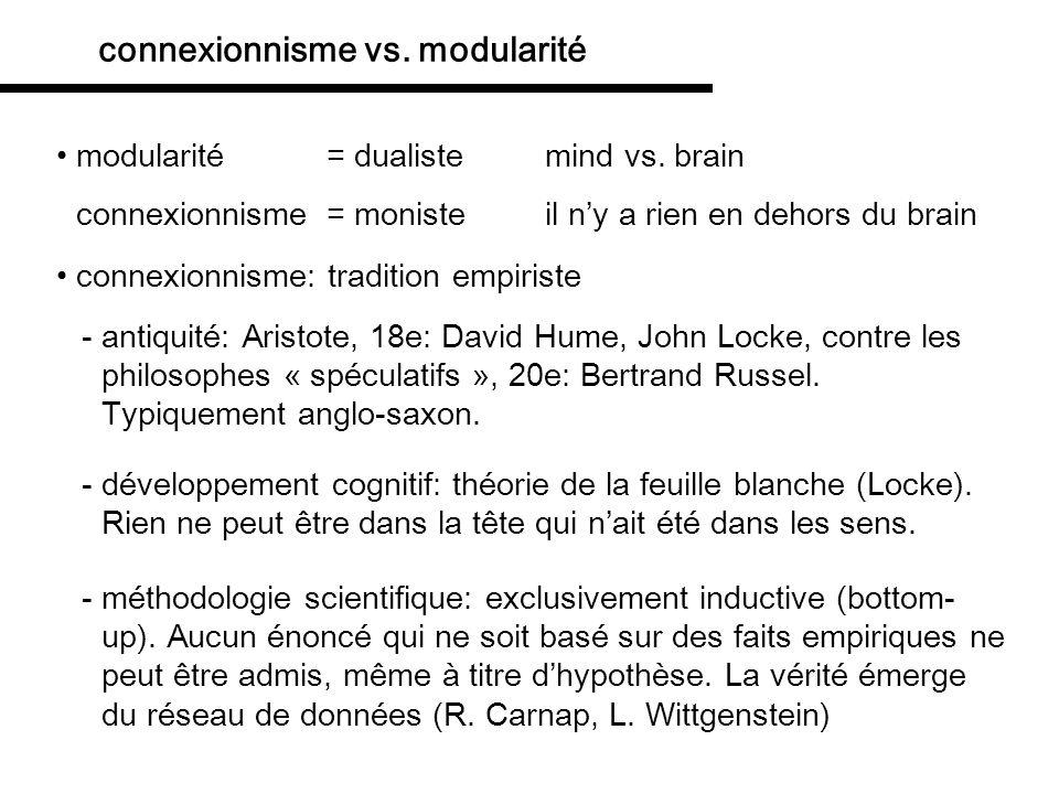 connexionnisme: tradition empiriste connexionnisme vs.