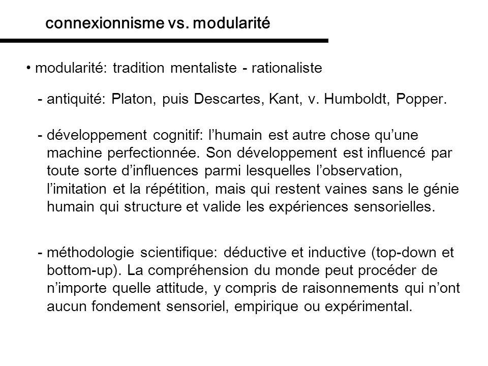 modularité: tradition mentaliste - rationaliste connexionnisme vs.