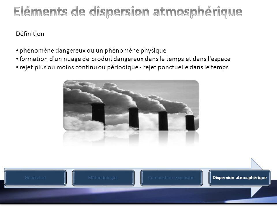 Définition phénomène dangereux ou un phénomène physique formation d un nuage de produit dangereux dans le temps et dans l espace rejet plus ou moins continu ou périodique - rejet ponctuelle dans le temps GénéralitéMéthodologiesCombustion -ExplosionDispersion atmosphérique