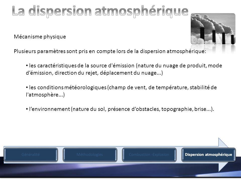 Mécanisme physique Plusieurs paramètres sont pris en compte lors de la dispersion atmosphérique: les caractéristiques de la source d émission (nature du nuage de produit, mode démission, direction du rejet, déplacement du nuage...) les conditions météorologiques (champ de vent, de température, stabilité de l atmosphère...) lenvironnement (nature du sol, présence dobstacles, topographie, brise...).