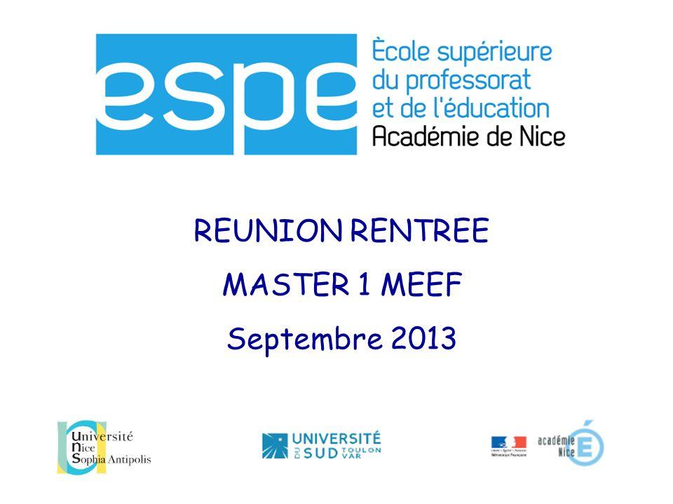 REFORME ESPE Les nouveaux programmes de Master démarreront en septembre 2013 en M1.
