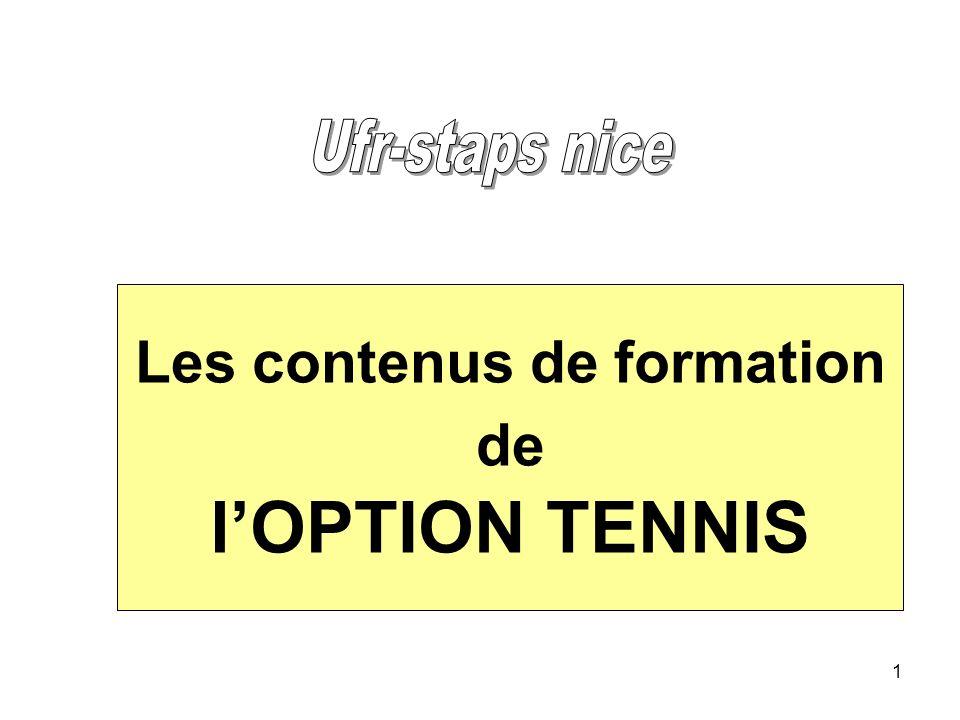 1 Les contenus de formation de lOPTION TENNIS