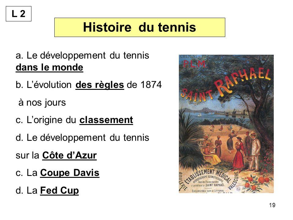 19 Histoire du tennis a.Le développement du tennis dans le monde b.Lévolution des règles de 1874 à nos jours c.Lorigine du classement d.Le développement du tennis sur la Côte dAzur c.La Coupe Davis d.La Fed Cup L 2