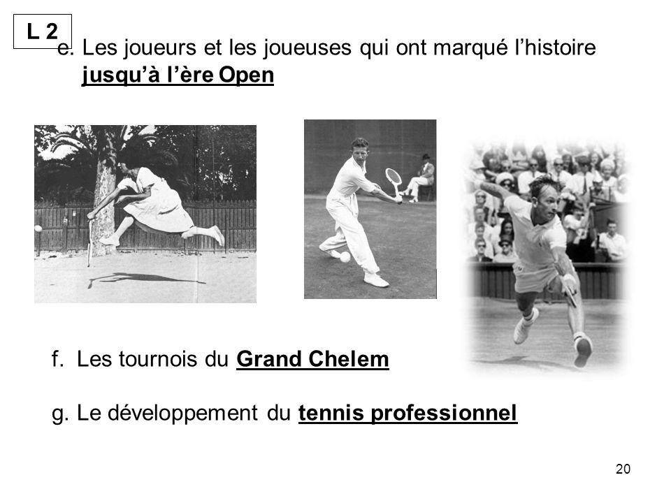 20 e.Les joueurs et les joueuses qui ont marqué lhistoire jusquà lère Open f.Les tournois du Grand Chelem g.Le développement du tennis professionnel L