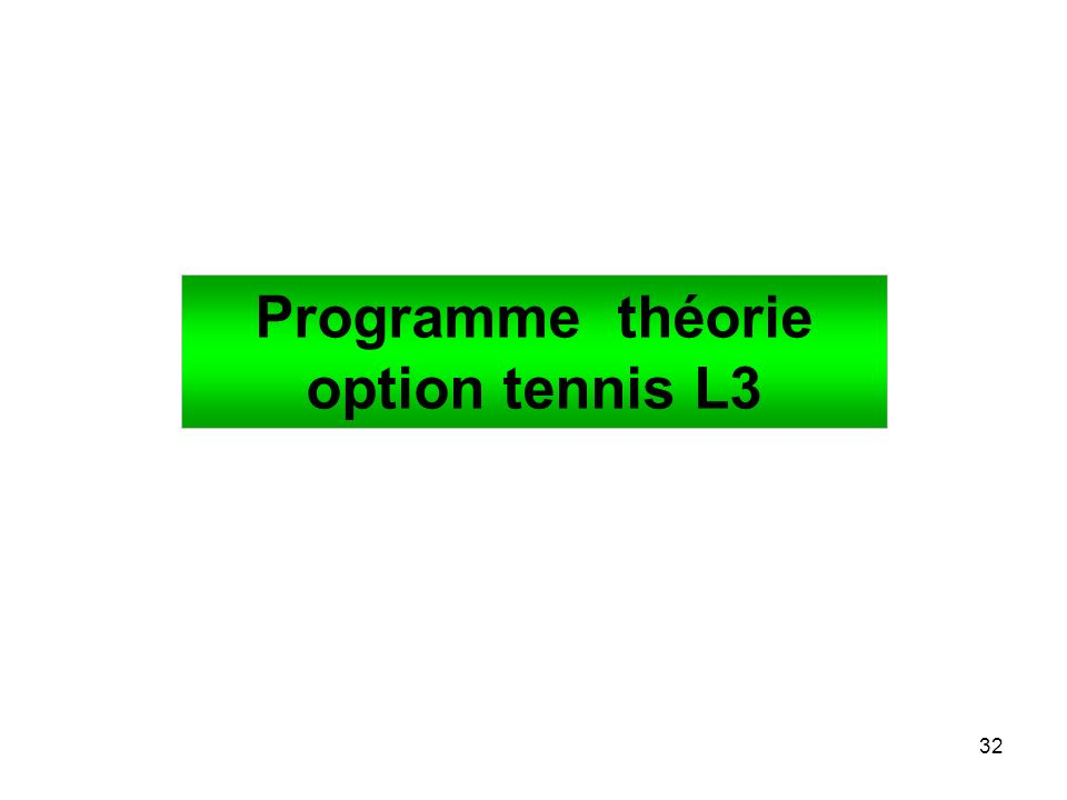 32 Programme théorie option tennis L3