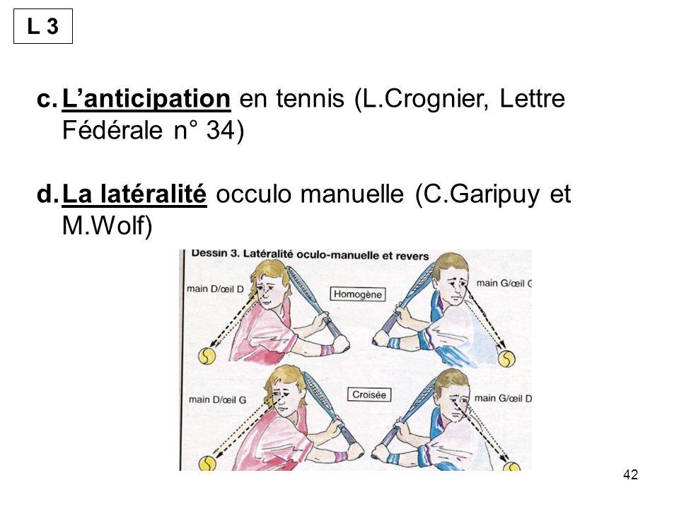 42 c.Lanticipation en tennis (L.Crognier, Lettre Fédérale n° 34) d.La latéralité occulo manuelle (C.Garipuy et M.Wolf) L 3
