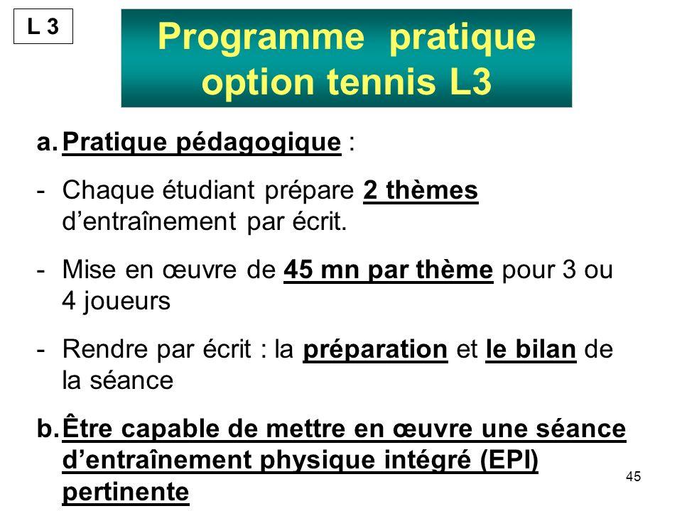 45 Programme pratique option tennis L3 a.Pratique pédagogique : -Chaque étudiant prépare 2 thèmes dentraînement par écrit. -Mise en œuvre de 45 mn par