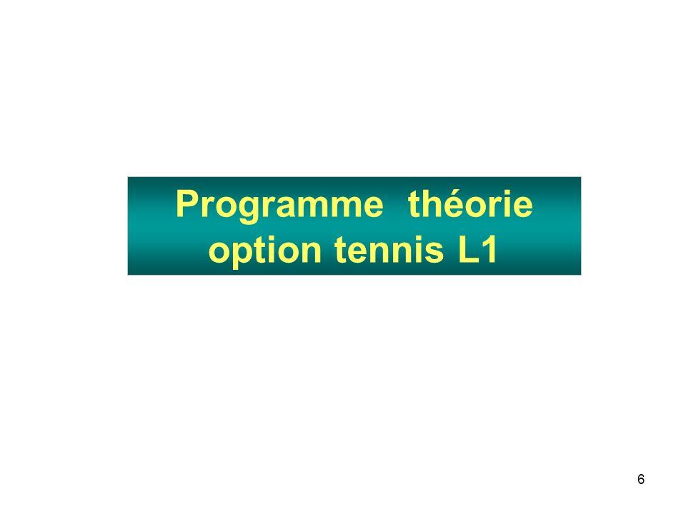 47 Pratique pédagogique hors option tennis en L2 et L3 L2 L3 40 h de pédagogie pratique -EPS en École primaire (filière EM1)ou avec des étudiants de lUFR STAPS (filière EM 2) -Entraînement tennis en club (filière ES) 50 h de stage pratique -EPS en École primaire (EM1)ou avec des étudiants de lUFR STAPS (EM2) -Entraînement tennis en club (filière ES) 20 h de TD liées à ce stage