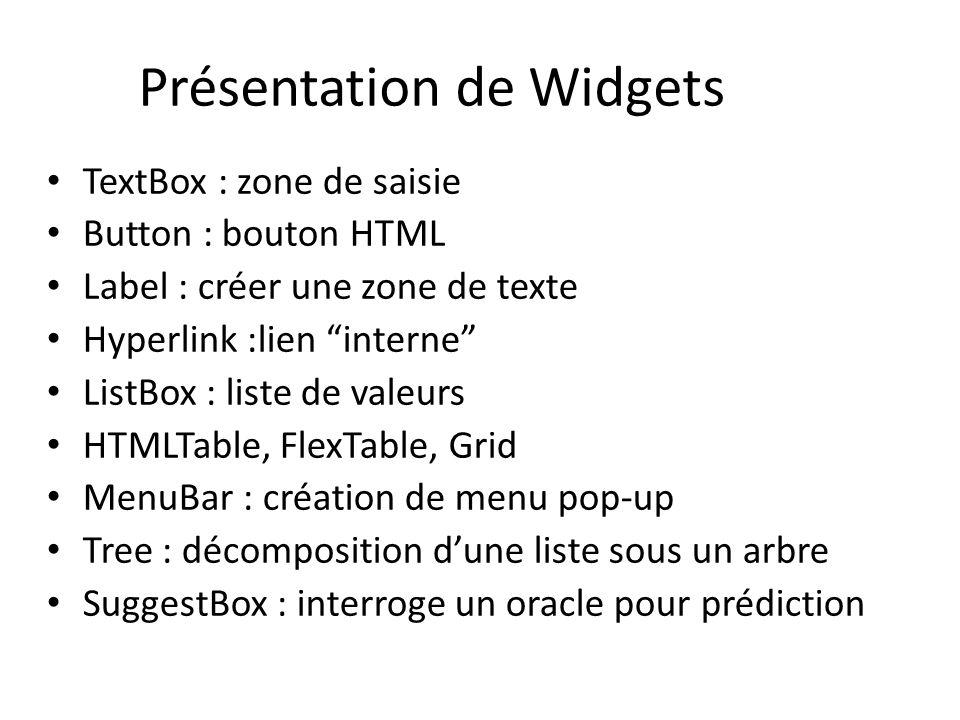Présentation de Widgets TextBox : zone de saisie Button : bouton HTML Label : créer une zone de texte Hyperlink :lien interne ListBox : liste de valeu