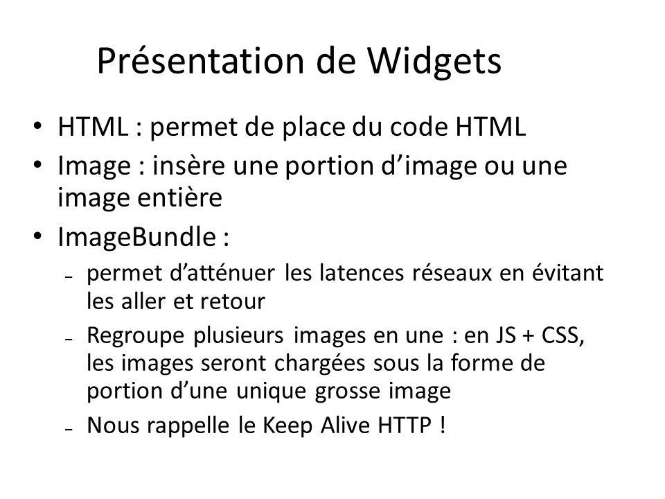 HTML : permet de place du code HTML Image : insère une portion dimage ou une image entière ImageBundle : – permet datténuer les latences réseaux en év