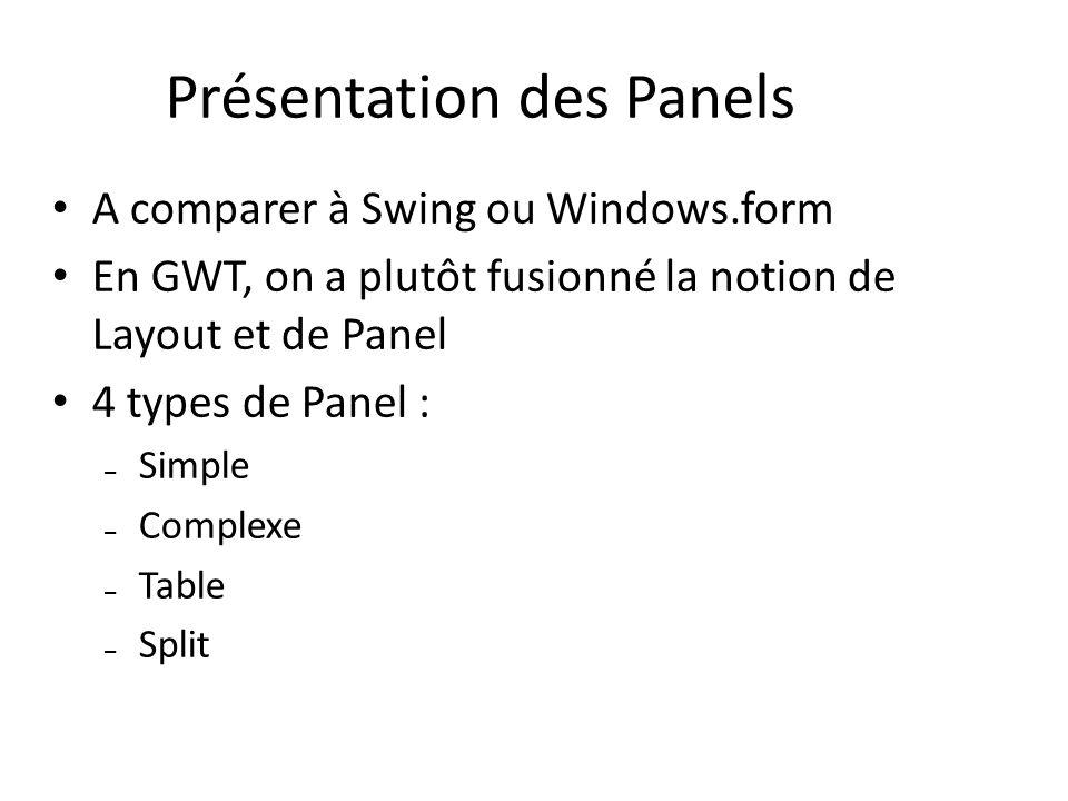 Présentation des Panels A comparer à Swing ou Windows.form En GWT, on a plutôt fusionné la notion de Layout et de Panel 4 types de Panel : – Simple –
