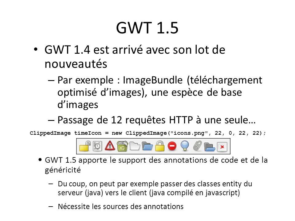 GWT 1.5 GWT 1.4 est arrivé avec son lot de nouveautés – Par exemple : ImageBundle (téléchargement optimisé dimages), une espèce de base dimages – Pass