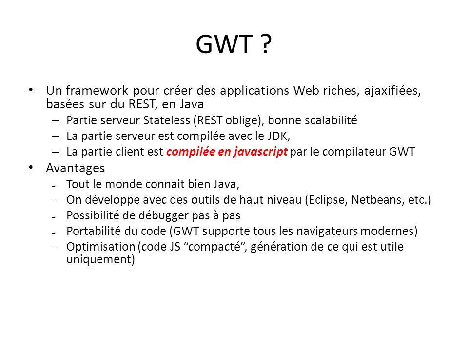 GWT ? Un framework pour créer des applications Web riches, ajaxifiées, basées sur du REST, en Java – Partie serveur Stateless (REST oblige), bonne sca