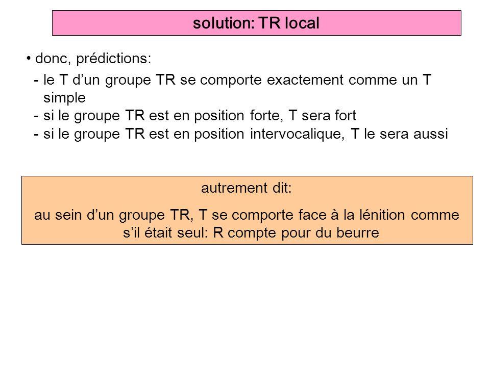 autrement dit: au sein dun groupe TR, T se comporte face à la lénition comme sil était seul: R compte pour du beurre solution: TR local donc, prédicti
