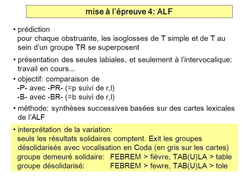 mise à lépreuve 4: ALF prédiction pour chaque obstruante, les isoglosses de T simple et de T au sein dun groupe TR se superposent présentation des seu