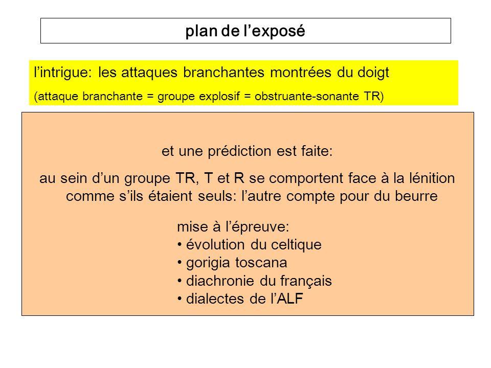la Coda Miroir (Ségéral & Scheer 2001) ne fait aucune prédiction concernant les attaques branchantes problème empirique rappel de la Position Forte (en roman et ailleurs) - {#,C}__ = Position Forte: PORTA > porte, TALPA > taupe - V__V = position faible A: FABA > fève - __{#,C} = position faible B (Coda): LUP(U) > l[u], RUPTA > route leffet miroir: {#,C}__ vs.
