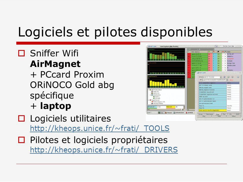 Logiciels et pilotes disponibles Sniffer Wifi AirMagnet + PCcard Proxim ORiNOCO Gold abg spécifique + laptop Logiciels utilitaires http://kheops.unice