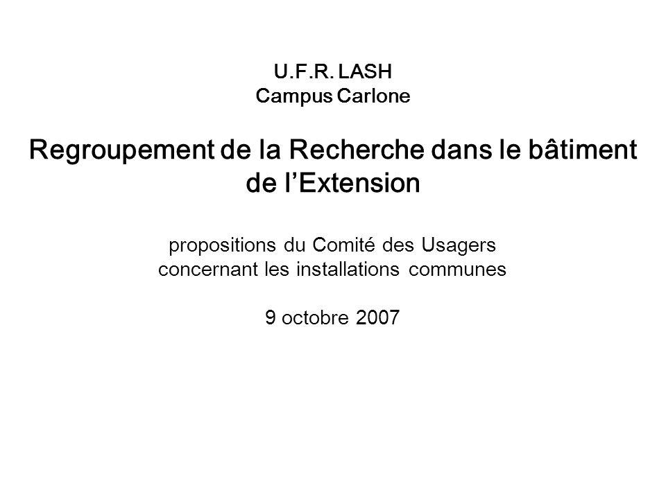 U.F.R. LASH Campus Carlone Regroupement de la Recherche dans le bâtiment de lExtension propositions du Comité des Usagers concernant les installations