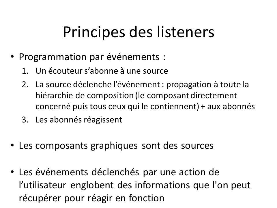 Principes des listeners Programmation par événements : 1.Un écouteur sabonne à une source 2.La source déclenche lévénement : propagation à toute la hi