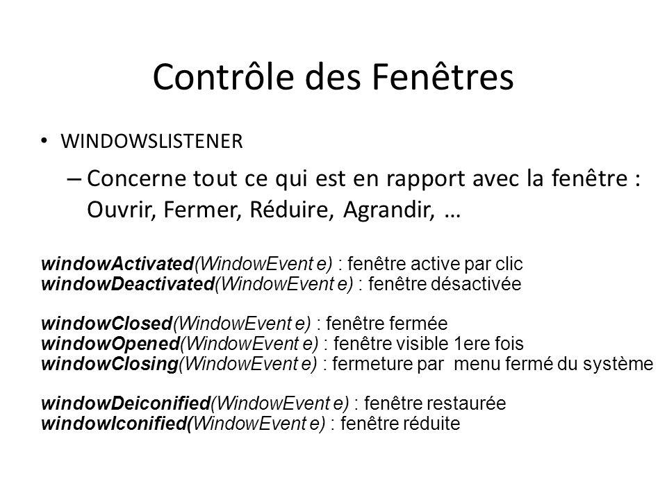 Contrôle des Fenêtres WINDOWSLISTENER – Concerne tout ce qui est en rapport avec la fenêtre : Ouvrir, Fermer, Réduire, Agrandir, … 17 windowActivated(