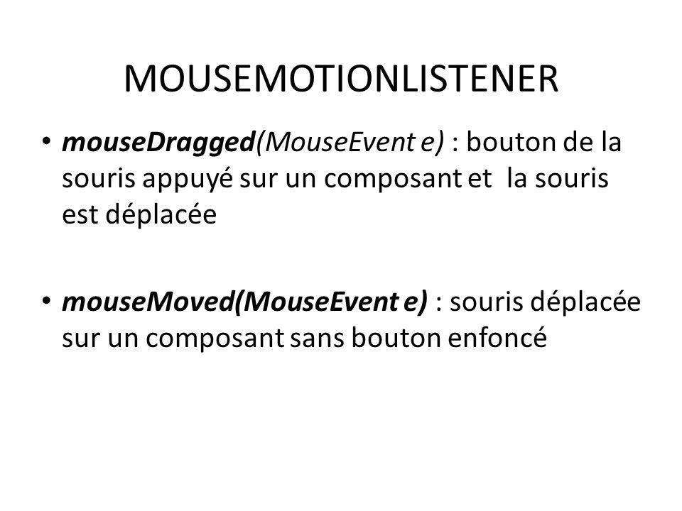MOUSEMOTIONLISTENER mouseDragged(MouseEvent e) : bouton de la souris appuyé sur un composant et la souris est déplacée mouseMoved(MouseEvent e) : sour