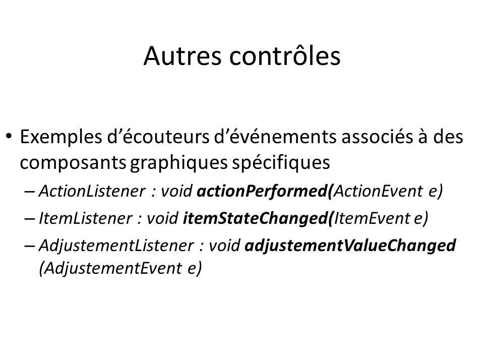 Autres contrôles Exemples découteurs dévénements associés à des composants graphiques spécifiques – ActionListener : void actionPerformed(ActionEvent