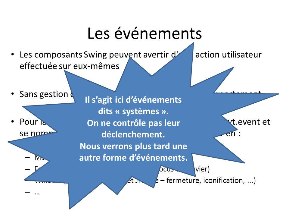 Les événements 6 Les composants Swing peuvent avertir d'une action utilisateur effectuée sur eux-mêmes Sans gestion des événements, lIHM na aucun comp
