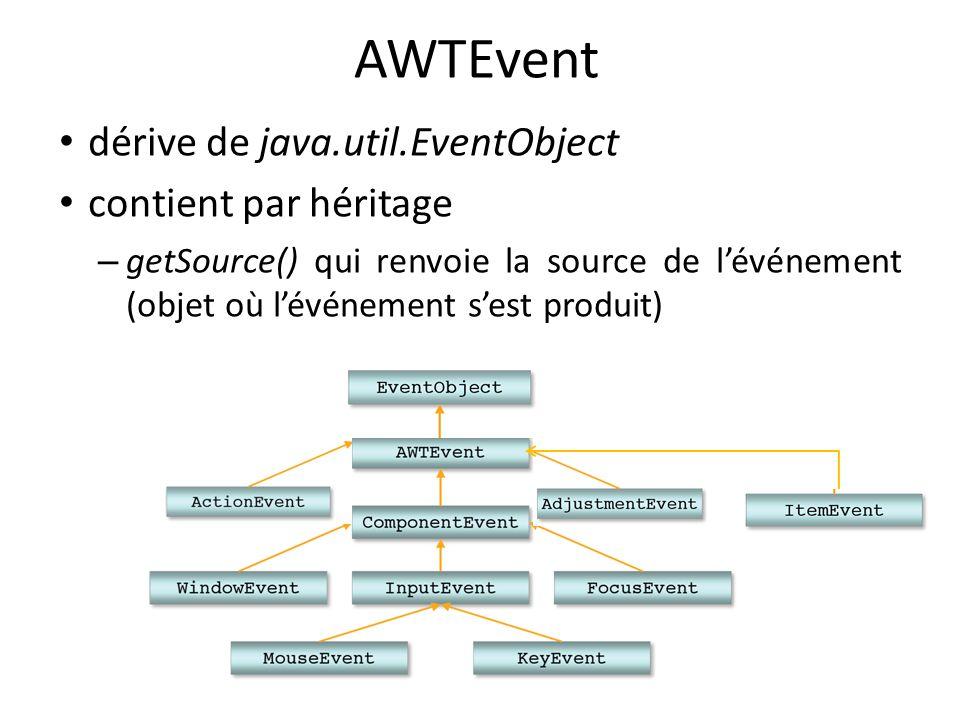 AWTEvent dérive de java.util.EventObject contient par héritage – getSource() qui renvoie la source de lévénement (objet où lévénement sest produit) 7