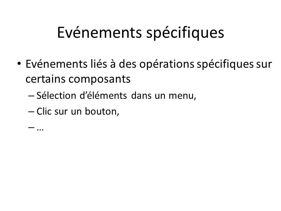 Evénements spécifiques Evénements liés à des opérations spécifiques sur certains composants – Sélection déléments dans un menu, – Clic sur un bouton,
