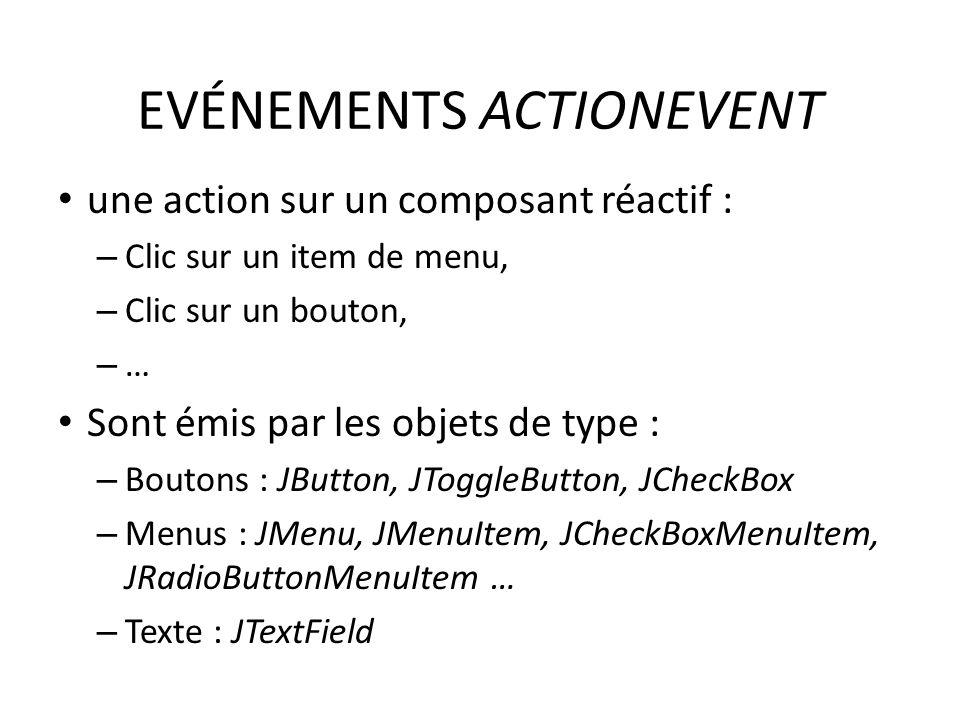 EVÉNEMENTS ACTIONEVENT une action sur un composant réactif : – Clic sur un item de menu, – Clic sur un bouton, – … Sont émis par les objets de type :