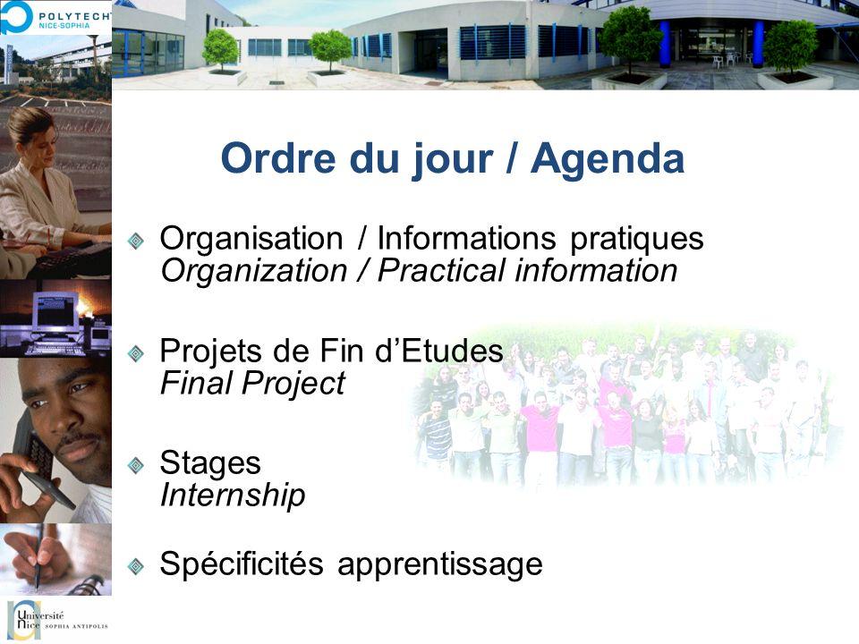 Ordre du jour / Agenda Organisation / Informations pratiques Organization / Practical information Projets de Fin dEtudes Final Project Stages Internsh