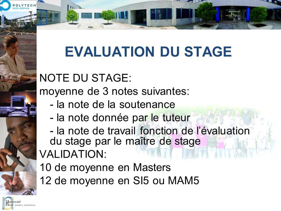 EVALUATION DU STAGE NOTE DU STAGE: moyenne de 3 notes suivantes: - la note de la soutenance - la note donnée par le tuteur - la note de travail foncti